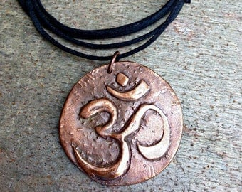 Yoga Dad Father's Day Gift Mens Om Symbol Necklace Artisan Copper or Bronze Pendant