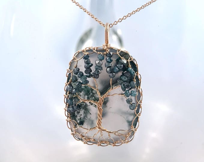 """Featured listing image: Tree Of Life Pendant Necklace - Solid 14k Yellow Gold - Cushion Cut Faceted Moss Agate - Genuine Blue Diamond Leaves - """"Everlasting Oak"""""""