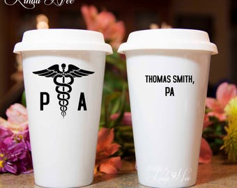 Physician Assistant Travel Mug, Personalized Physician Assistant, Gifts for PA, PA-C Gift, Physician Assistant Gift, PA Symbol Travel MSA206