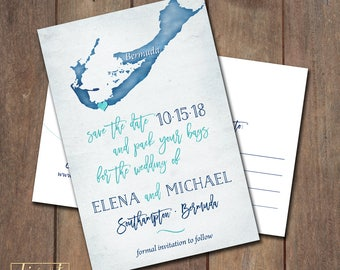 Save the Date Postcard, Save Our Date Postcard, Destination Wedding, Bermuda Custom Map Save the Date Postcard - PRINTABLE files