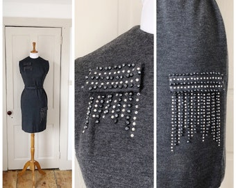 Paris at Night 1960s Grey Knit Wiggle Dress with Rhinestone/Black Bead Detail