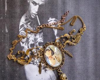 Bronze cabochon necklace steampunk tattoo skullbird feathers ♠Yasmine♠
