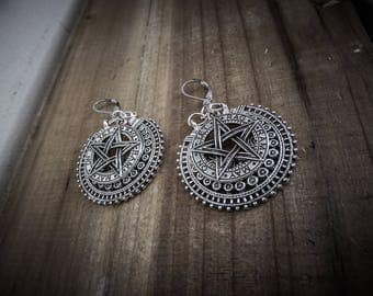 "Silver earrings goth ""666 Pentagram 666"""