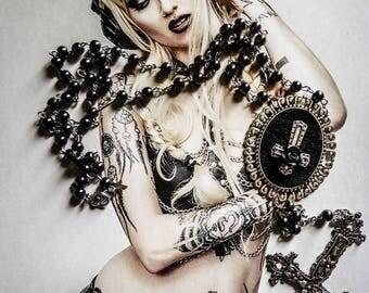 Chaplet Rosary cameo pink felt Dean Winchester Supernatural ♠ 666 ♠ mexican calavera
