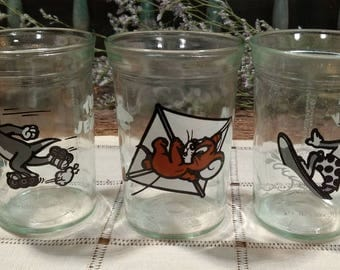 Vintage Tom and Jerry and Tom Trio of Welch's Cartoon Jelly Jar Glasses / 1990 / Juice / Water / Milk Glass / Price is for Set of Three