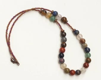 Earth Tone Bead and Copper Necklace