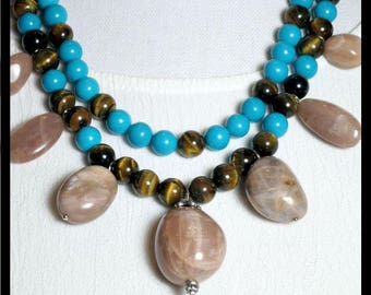 Necklace: Double Strand, Sun Stone Nuggets, Tiger Eye, Turquoise Blue dyed Chalcedony, Decorative Silver Beads by Teluma Designs. OOAK