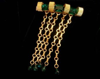 Barrette Vintage Emerald Crystals Big Chunky Gold Made in France, Runway Bohemian Chic, Glamorous Evening, Gala,  Statement Piece