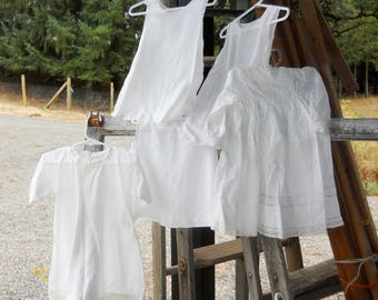 French Country Farmhouse Antique White Cotton Baby Christening Dress Slip Lot Five Vintage 1900s Summer Baby Clothes