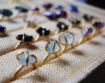 Fluorite ring / raw crystal ring / rough crystal prong ring / rough diamond ring