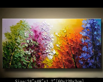 contemporary wall art,Palette Knife Painting,colorful Landscape painting,wall decor,Home Decor,Acrylic Textured Painting ON Canvas Chen 0821