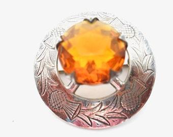 Scottish Sterling Silver Thistle Brooch Kilt Sash Pin Celtic Amber Glass Stone Cairngorm Design Crystal Scottish Kilt Jewelry