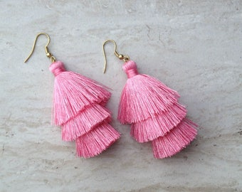 Pink Silk Tassel Earrings Layered Pastal Pink Tassle Earrings Tassel Drop Earrings Statement Earrings Summer Jewelry Tassel Fringe Earrings