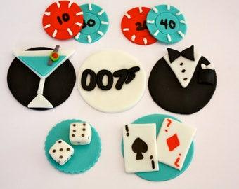 JAMES BOND/ Poker -  Fondant Cupcake, and Cookie Toppers - 1 Dozen