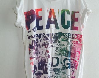 PEACE Anti War Rainbow Multi Colours T-Shirt