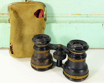 Vintage Lamier Paris Opera Glasses Trimmed in Leather and Brass