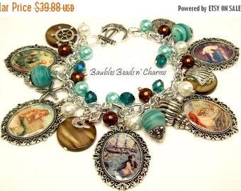 Sale Mermaid Charm Bracelet Jewelry, Ocean Beach Charm Bracelet Jewelry, Photo Charm Bracelet, Beaded Charm Bracelet