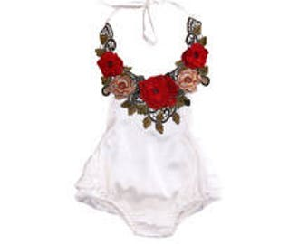 Baby Infant Girl White Satin with Roses Ruffles Romper Sunsuit Bubble Sun Suit