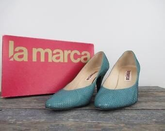 Vintage Turquoise Pumps, Snakeskin Heels, Turchese Snakeskin Pumps, Vintage Pumps, La Marca Shoes, Italian Shoes, Vintage High Heels