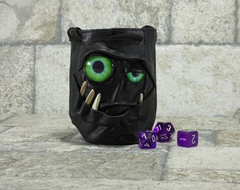Dice Bag Marble Bag Fairy Pouch With Monster Face RPG LARP Drawstring Bag Rune Bag Magic The Gathering Gamer Gift Black Leather