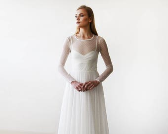 Chiffon Ivory-Dots Round Neckline Bridal Dress With Long Sleeves 1101