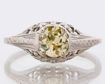 Antique Engagement Ring - Antique 14k White Gold Natural Fancy Yellow Diamond Ring