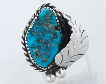 Vintage Ring - Vintage Native American Sterling Silver Turquoise Ring