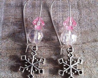 Large silvery clasps pink pale 4 snowflakes earrings
