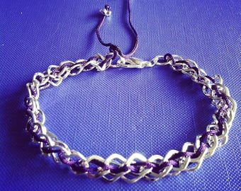 Silver plated chain with purple cord bracelet