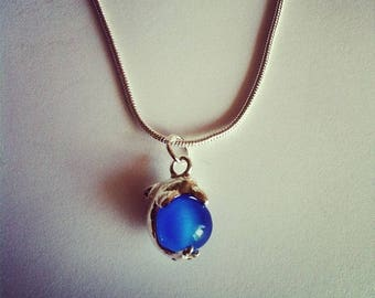 Dolphin pendant chain blue glass bead
