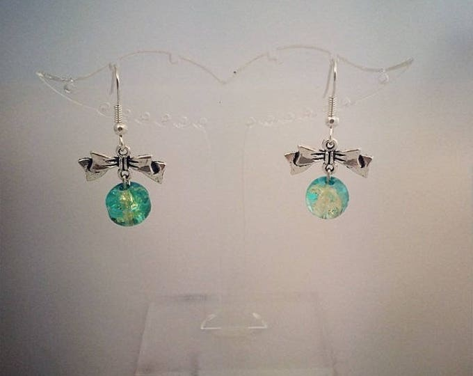 Green and turquoise bead and knot earrings