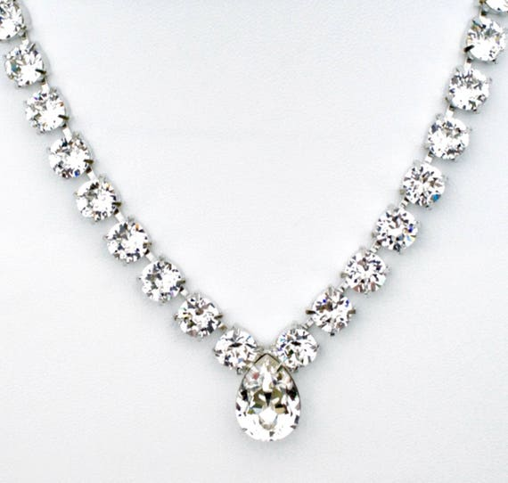 Swarovski Crystal 8.5mm Necklace with 18mm x 13mm Crystal Drop  -  Stunning, Radiant Crystal Clear -Designer Inspired -FREE SHIPPING