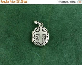 ON SALE Sterling Silver Christian Cross Locket - Pendant - Free Shipping