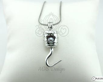 Pick A Pearl Cage Necklace Peter Pan Pirate Hook Captain Ship Sailing Silver Plated Locket Charm Necklace Captain Hook Costume