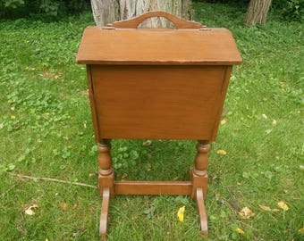 Vintage Wood Sewing Cabinet - Sewing Cabinet - Sewing Storage - Sewing Organizer
