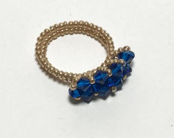 Crystal Beaded Ring Blue Beaded Ring Bead Stitched Ring Beadwoven Ring Beadwork Ring Peyote Ring Woven Ring Seed Beaded Ring
