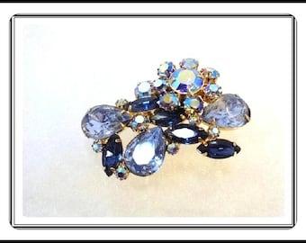 Lush Vintage D&E Blue raised Flower Brooch - Dressy Juliana Brooch - Pin-982a-071317035