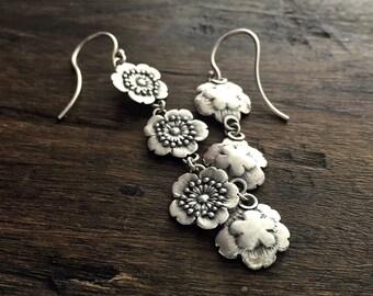 cherry blossom earrings | botanical jewelry | boho earrings | sakura earrings | Three Little Flowers Drop Earrings