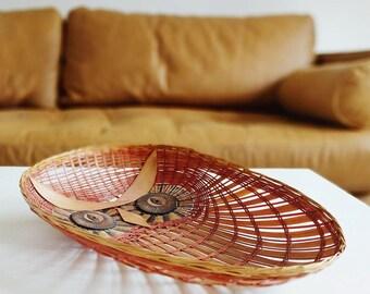 Vintage Owl Basket / Shallow Woven Wall Hanging Basket / Fruit Basket / Storage Basket / Owl Decor / Rattan Basket / Boho Owl Basket