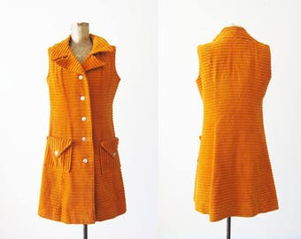 60s Dress / Mod Dress / 60s Mini Dress / Orange 1960s Dress / Corduroy Dress / Retro Dress / A Line Dress / Scooter Dress / 60s Dress Small