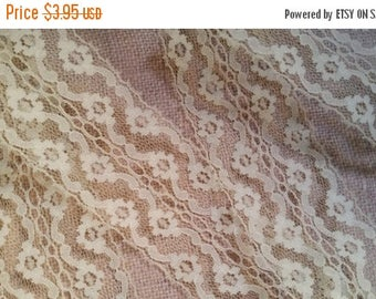 ON SALE 25% OFF 2 Yds Vintage Floral Pale Yellow Eggshell Floral Netted Lace | Wide | 2 3/4"