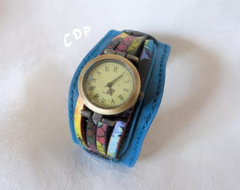 Peacock blue and multicolor leather cuff bracelet watch, closing loop watch