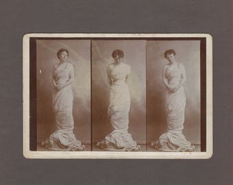 Composite Cabinet Card ~ Three Poses of a Woman in a Grecian Style Gown