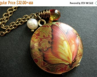 SUMMER SALE Flaming Butterfly Locket Necklace. Butterfly Necklace with Fiery Teardrop and Fresh Water Pearl. Handmade Jewelry.