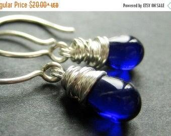 BACK to SCHOOL SALE Sterling Silver Earrings - Cobalt Blue Earrings. Wire Wrapped Teardrop Earrings. Handmade Jewelry.