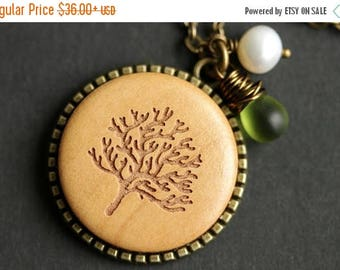 BACK to SCHOOL SALE Wood Tree Necklace. Tree Pendant. Wooden Necklace with Wire Wrapped Teardrop and Fresh Water Pearl. Bronze Necklace. Han