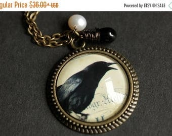 VALENTINE SALE Crow Necklace. Raven Pendant. Black Bird Necklace with Black Teardrop and Fresh Water Pearl. Black Necklace. Bronze Handmade