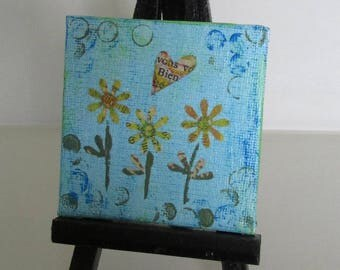 miniature mini canvas panel mixed media gelli prints wall display upcycled art Flowers floral