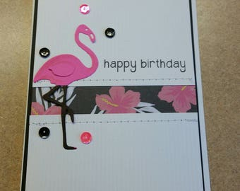 Handmade Sewn Birthday Card. Flamingo Birthday Card.  Birthday Card for Her.