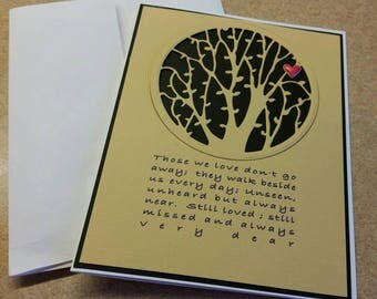 Hand Made Die Cut Sympathy card.  Grief. Mourning a Loss. Bereavement